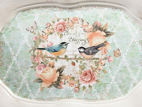Kuş Desenli Oval Tepsi