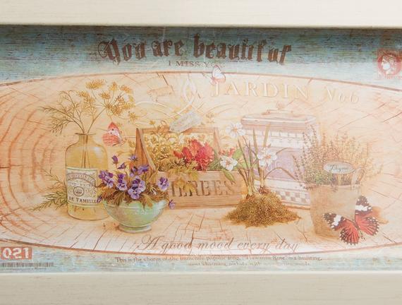 Dikdörtgen Tepsi Renkli Çiçek 35.5x18cm
