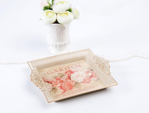 Çiçek Desenli Kulplu Dikdörtgen Tepsi