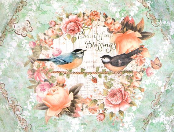 Kuş Desenli Kulplu Altıgen Tepsi