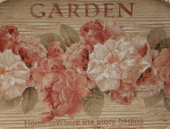 Oval Kulplu Tepsi Çiçek Şeridi 23x12.5x8cm