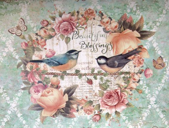 Kuş Desenli Kulplu Dikdörtgen Tepsi