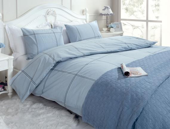 Çift Kişilik Ranforce Yastıklı Nevresim Takımı 200x220 cm Mavi / Lacivert