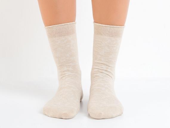 Jakar Baskılı Kadın Çorabı - Bej