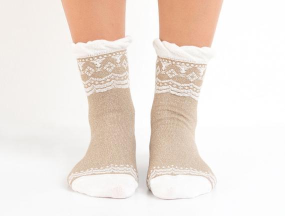 Lastiksiz Soket Kadın Çorabı - Bej