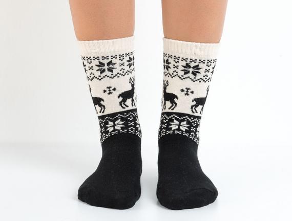 Kış Temalı Kadın Çorabı - Siyah
