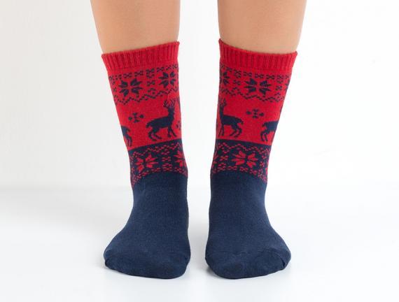Kış Temalı Kadın Çorabı - Lacivert