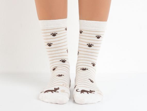 Bayan Patili Kedili Soket Çorap