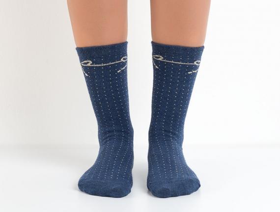 Simli Kurdele Desenli Kadın Çorabı - İndigo / Melanj