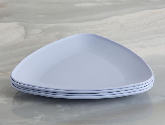 4'lü Üçgen Pasta Tabağı - Mavi