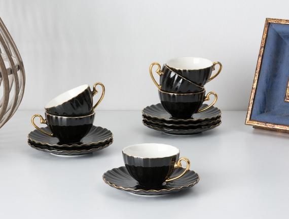 Shelley 6'lı Kahve Fincanı Seti - Siyah