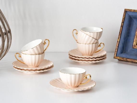 Shelley 6'lı Kahve Fincanı Seti - Pembe