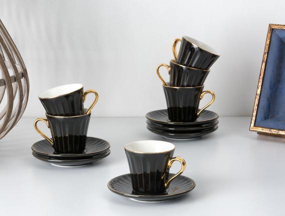 Novel 6'lı Kahve Fincanı Seti - Siyah
