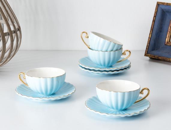 Shelley 4'lü Çay Fincanı Seti - Mavi