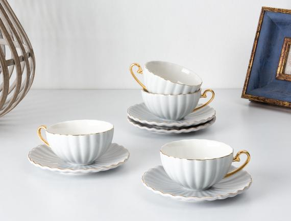 Shelley 4'lü Çay Fincanı Seti - Bej