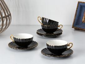Shelley 4'lü Çay Fincanı Seti - Siyah