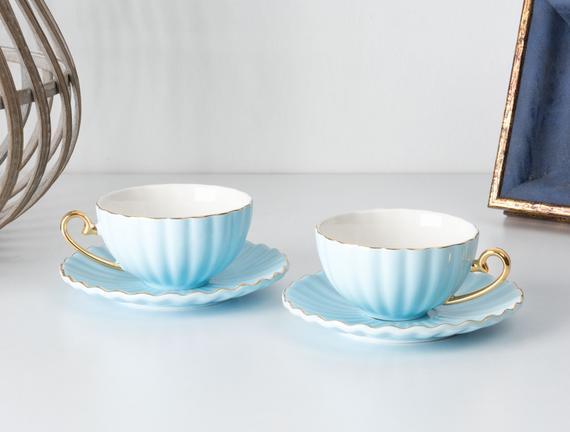 Shelley 2'li Çay Fincanı Seti - Mavi