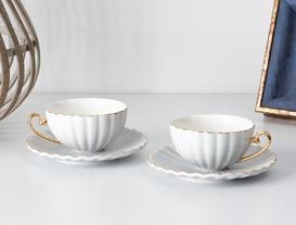 Shelley 2'li Çay Fincanı Seti - Gri