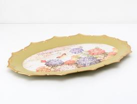 Ortanca ve Kelebek Desenli Oval Tepsi