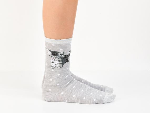 Simli ve Kedi Desenli Kadın Çorabı - Gri
