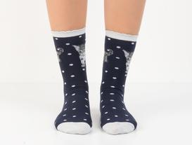 Simli ve Kedi Desenli Kadın Çorabı - Lacivert