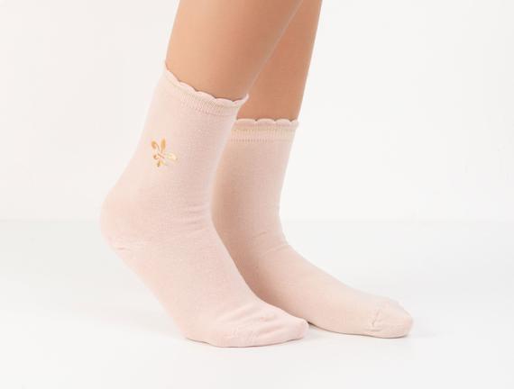 Fleur de Lys Baskılı Kadın Çorabı - Pudra