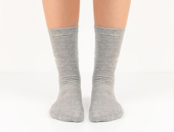 Yıldız Desenli Kadın Çorabı - Gri