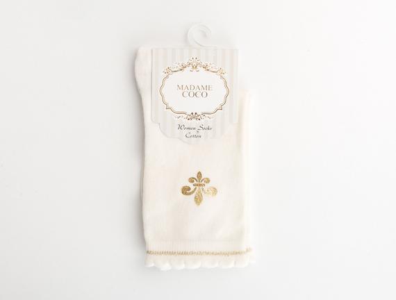 Fleur de Lys Baskılı Kadın Çorabı - Ekru