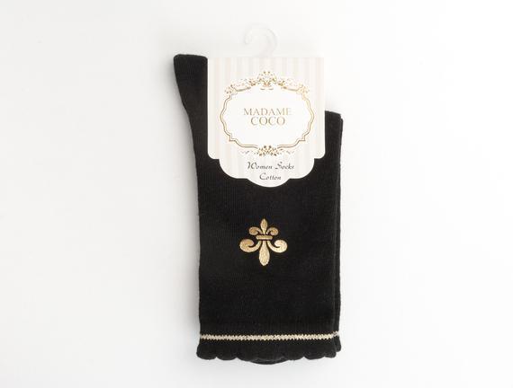 Fleur de Lys Baskılı Kadın Çorabı - Siyah