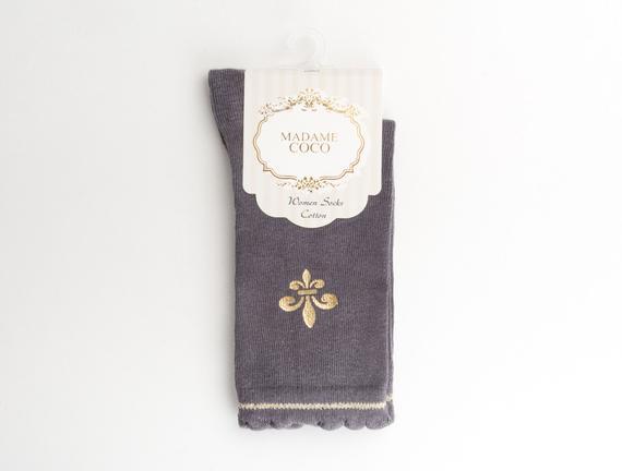 Fleur de Lys Baskılı Kadın Çorabı - Antrasit