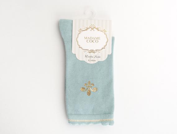 Fleur de Lys Baskılı Kadın Çorabı - Yeşil