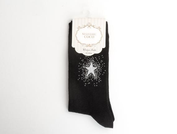 Yıldız Desenli Kadın Çorabı - Siyah