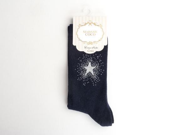Yıldız Desenli Kadın Çorabı - Lacivert