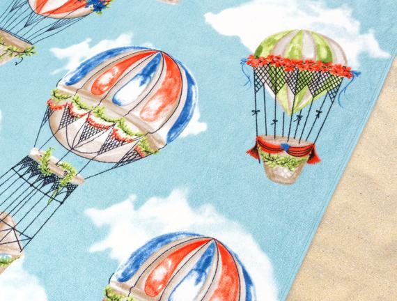 Balon Desenli Plaj Havlusu - Mavi - 70x160 cm