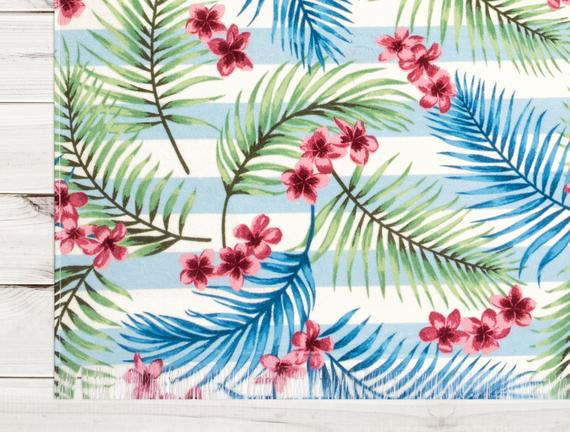 Yaprak Desenli Plaj Havlusu - Mavi - 70x160 cm