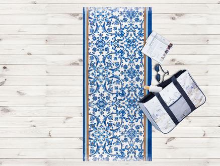 Otantik Desenli Plaj Havlusu - Mavi - 70x160 cm