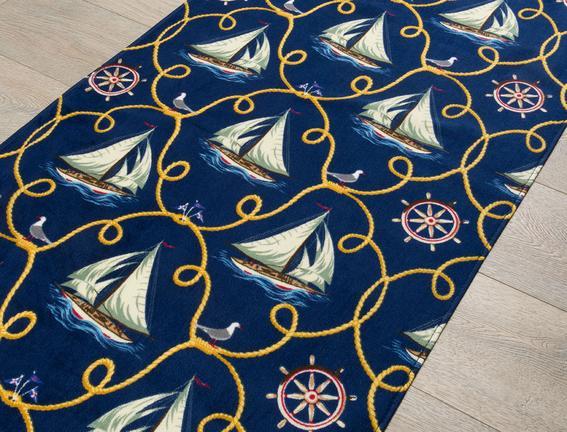 Yelkenli Desenli Plaj Havlusu - Lacivert - 70x160 cm