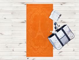 Eiffel Kulesi Desenli Plaj Havlusu - Turuncu