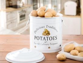Büyük Boy Teneke Patates Kutusu - Beyaz