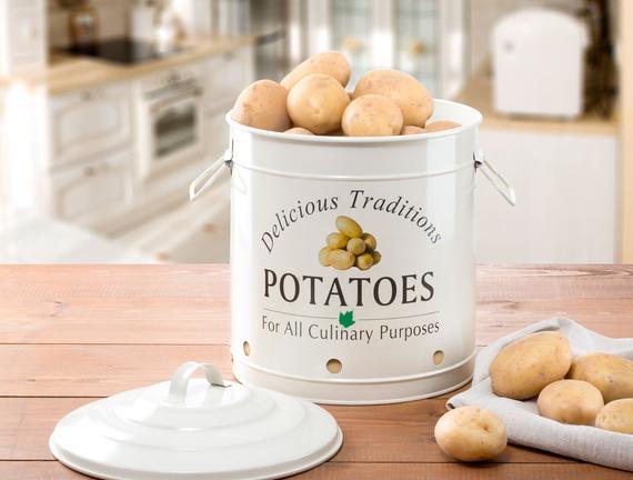 Büyük Boy Teneke Patates Kutusu - Ekru