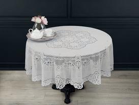 Vinil Yuvarlak Masa Örtüsü - Beyaz