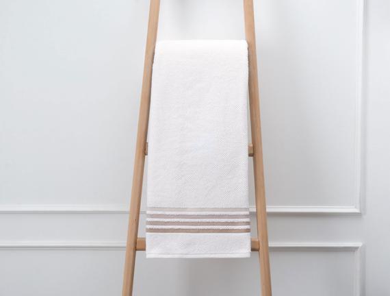 Bordürlü Banyo Havlusu - Ekru / Toprak