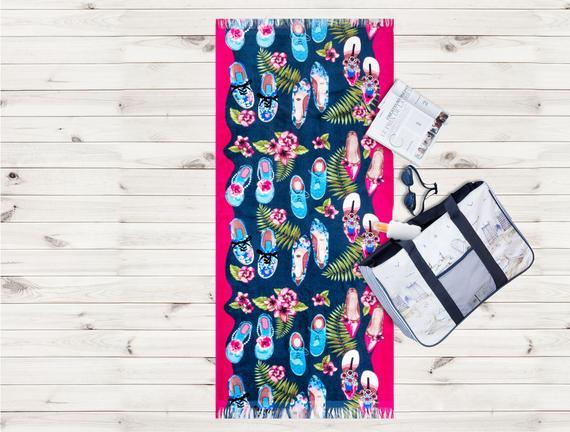 Ayakkabı Desenli Plaj Havlusu - Pembe - 70x160 cm