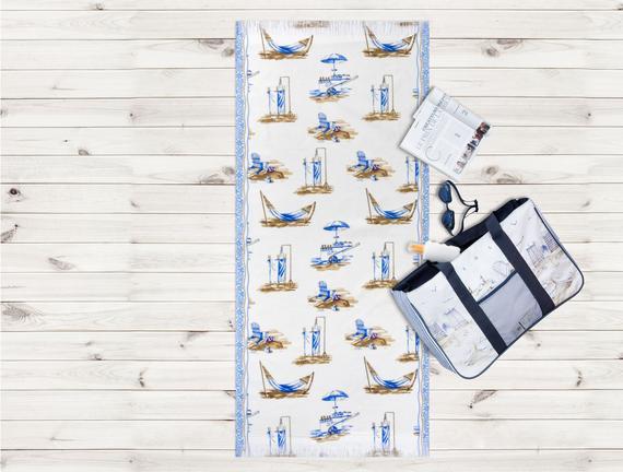 Kumsal Desenli Plaj Havlusu - Mavi - 70x160 cm