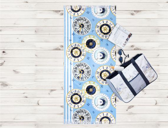 Saat Desenli Plaj Havlusu - Mavi - 70x160 cm