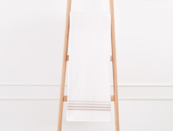 Bordürlü Banyo Havlusu - Ekru / Toprak - 70x140 cm