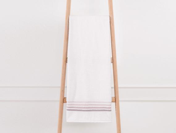 Bordürlü Banyo Havlusu - Ekru / Pudra