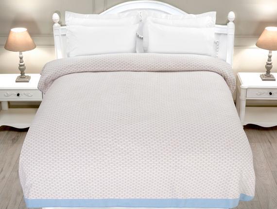 Tissus Çift Kişilik Yazlık Battaniye - Taş / Mavi