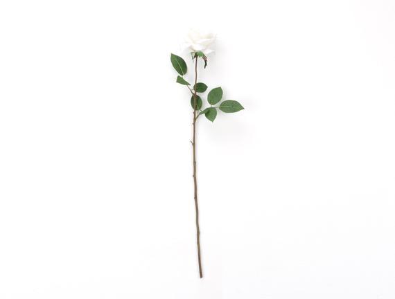 Dekoratif Yapay Çiçek Beyaz Gül 72cm