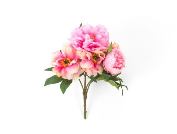 Dekoratif Yapay Çiçek - Açık Pembe / Krem Şakayık Buket